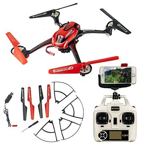 ToyJoy F1C-Wifi First Person View Quadcopter 2.4GHz RC 4CH 4 -Avis Aerocraft Cell Phone Control WiFi Real Time Video Explorers with Headless Flying + Home Back + 3D Flip+ LED Flashing Lights+ HD Camera + Transmitter (Red)