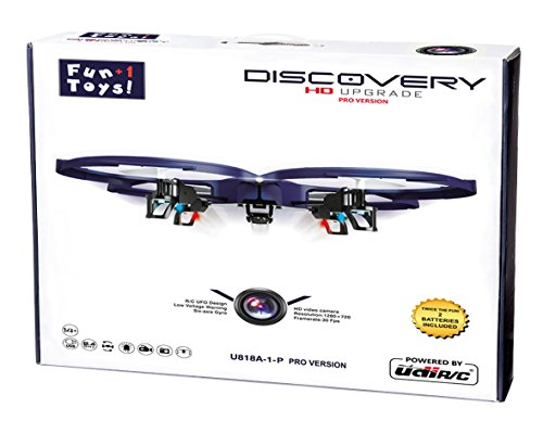 *LATEST MODEL* UDI U818A-1-P (PRO) Discovery 2.4GHz 4 CH 6 Axis Gyro RC Quadcopter with HD Camera RTF + (2) 3.7V 500mAh battery batteries