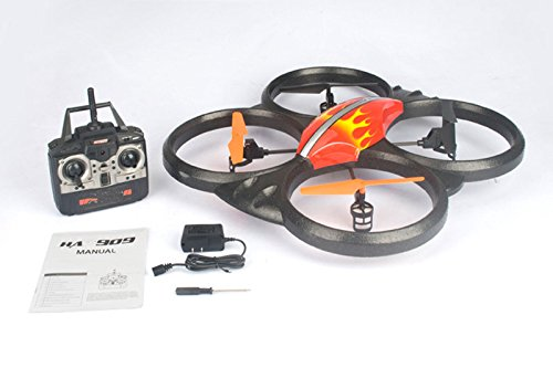"Haktoys HAK909C 24"" Large 2.4GHz 4 Channel RC Quadcopter, 6 Axis Gyroscope, Rechargeable, Ready To Fly, and with Plentiful LED Lights - Colors May Vary (Camera Included)"