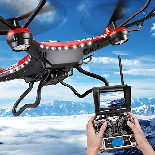JJRC H8D FPV Headless Mode 6-Axis 2.4Ghz Gyro RTF RC Quadcopter Helicopter Drone with 5.8G 2MP HD Camera Red EU Plug with US Adapter