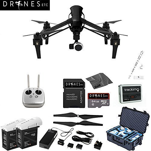 CARBON FIBER DJI Inspire 1 with Remote EVERYTHING YOU NEED Kit Includes Go Professional Travel Case + 64GB UHS-I/U3 Micro SDXC Memory Card (SDSDQX-032G-U46A) + Batter Charger & DJI TB48 Intelligent Flight Battery + DJI 1345 Self-Tightening Props + High Speed Memory Card Reader + Drones Etc. Lanyard + Microfiber Cleaning Cloth + Trackimo Tracker