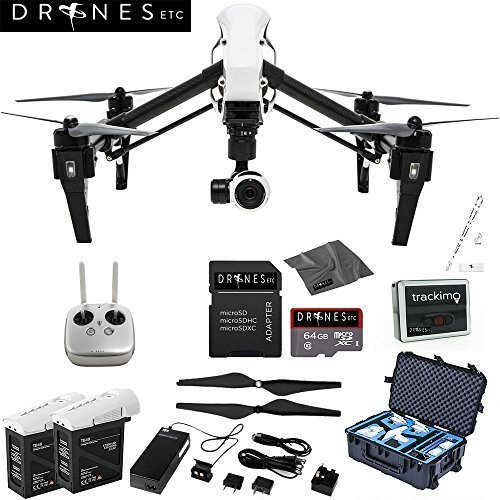 DJI Inspire 1 with Remote EVERYTHING YOU NEED Kit Includes Go Professional Travel Case + 64GB UHS-I/U3 Micro SDXC Memory Card (SDSDQX-032G-U46A) + Batter Charger & DJI TB48 Intelligent Flight Battery + DJI 1345 Self-Tightening Props + High Speed Memory Card Reader + Drones Etc. Lanyard + Microfiber Cleaning Cloth + Trackimo Tracker